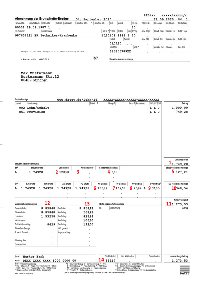 Payslip example to help understand your payslip